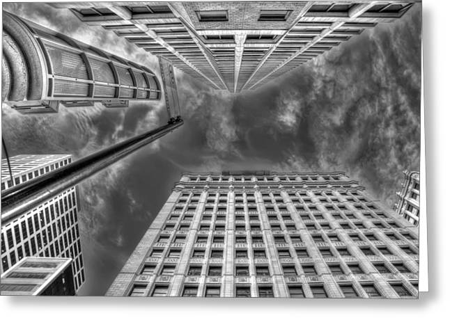 Urban Buildings Photographs Greeting Cards - Moving on up Greeting Card by Scott Norris