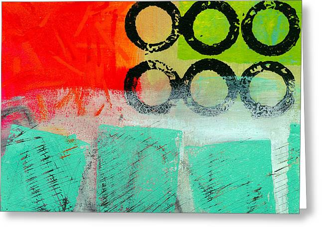 Grid Paintings Greeting Cards - Moving Through 11 Greeting Card by Jane Davies