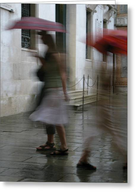 Circle Skirts Greeting Cards - Moving Through the Rain Drops Greeting Card by Denise Rafkind