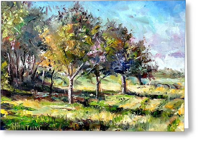Mountain Climbing Art Print Paintings Greeting Cards - Mowed Field Greeting Card by Mark Hartung