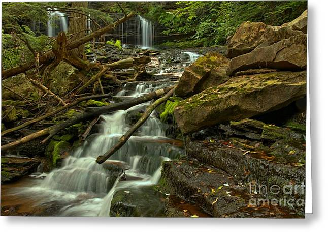 Mohawk Park Greeting Cards - Mowhawk Falls Cascades Greeting Card by Adam Jewell