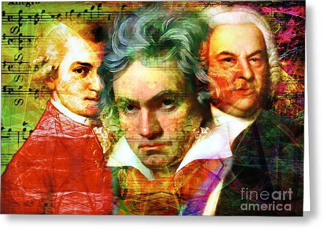 Johann Sebastian Bach Greeting Cards - Mozart Beethoven Bach 20140128 Greeting Card by Wingsdomain Art and Photography
