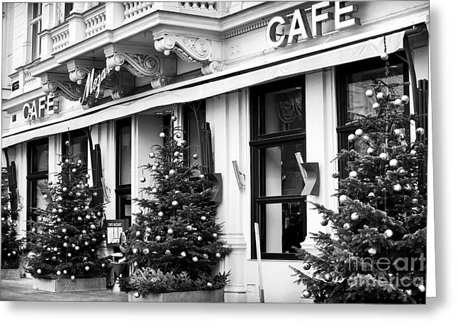 Old Vienna Greeting Cards - Mozart Cafe Greeting Card by John Rizzuto
