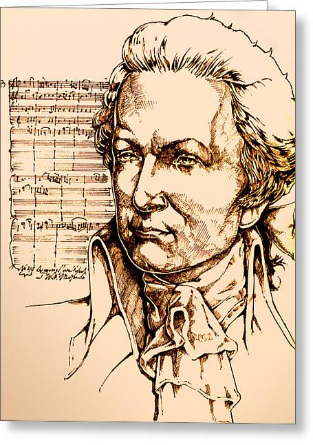 Scores Drawings Greeting Cards - Mozart Greeting Card by Derrick Higgins