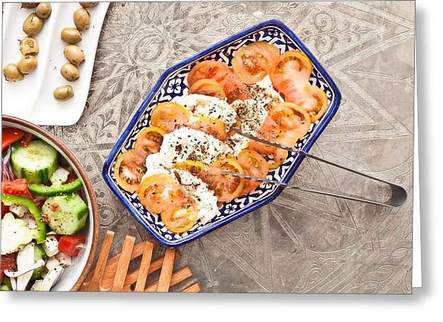 Salad Dressing Greeting Cards - Mozzarella and tomato Greeting Card by Tom Gowanlock