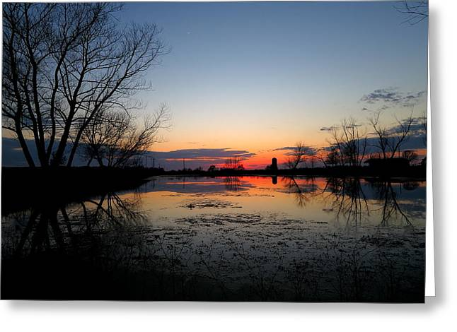 Arkansas Greeting Cards - MP0010 Sunset Across the Pond Greeting Card by Matthew Parks