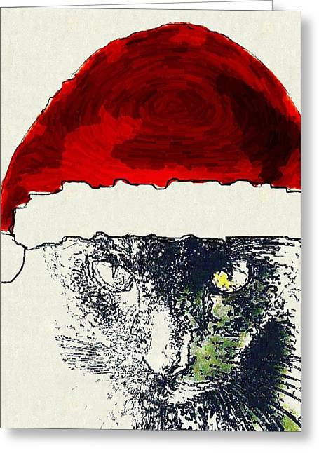 Cat Christmas Cards Greeting Cards - MPrints - Christmas Cheer 12 Greeting Card by M  Stuart