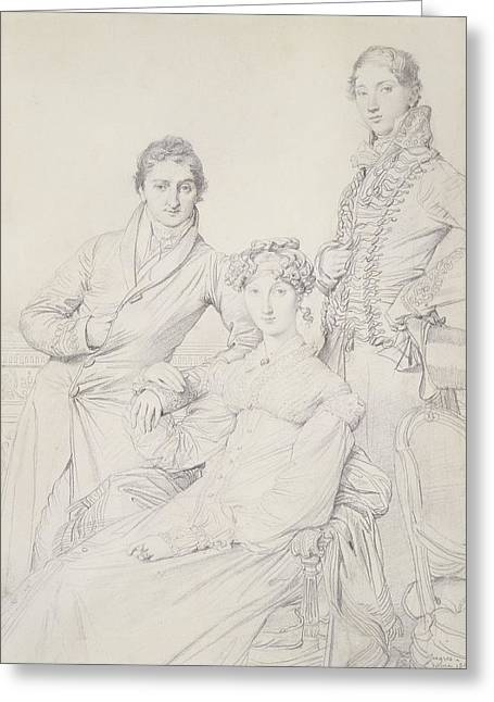 Top Hat Greeting Cards - Mr. And Mrs. Woodhead With Rev. Henry Greeting Card by Jean Auguste Dominique Ingres