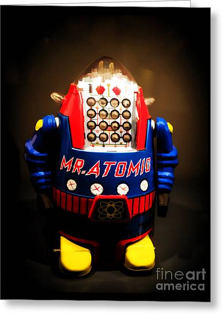 Valuable Greeting Cards - Mr. Atomic Tin Robot Greeting Card by Edward Fielding