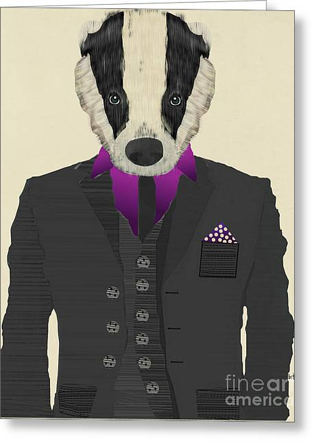 Contemporary Western Fine Art Greeting Cards - Mr Badger Greeting Card by Bri Buckley