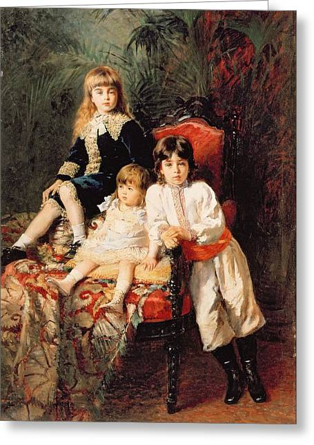 Full-length Portrait Greeting Cards - Mr. Balashovs Children, 1880 Oil On Canvas Greeting Card by Konstantin Egorovich Makovsky