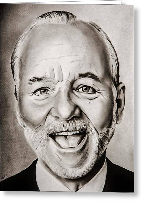 Striped Drawings Greeting Cards - Mr Bill Murray Greeting Card by Brian Broadway