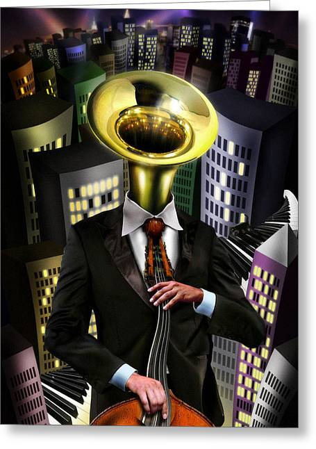 Tuba Greeting Cards - Mr Blue Greeting Card by Alessandro Della Pietra
