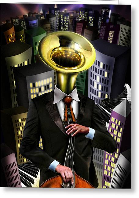 Double Bass Greeting Cards - Mr Blue Greeting Card by Alessandro Della Pietra