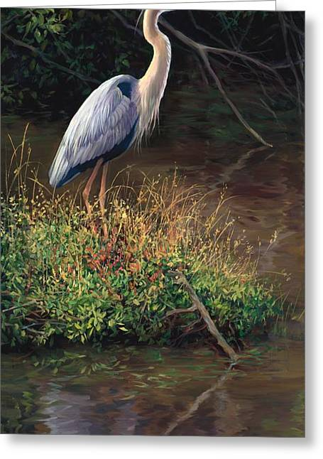 Tropical Wildlife Greeting Cards - Mr Blue Heron Greeting Card by Laurie Hein