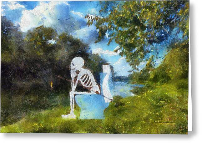 Sceleton Greeting Cards - Mr Bones Fishing Photo Art 01 Greeting Card by Thomas Woolworth