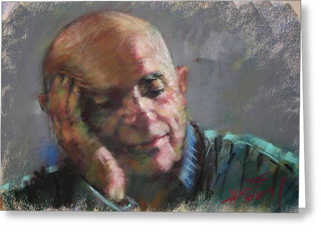 Pastel Portrait Greeting Cards - Mr Cela Greeting Card by Ylli Haruni