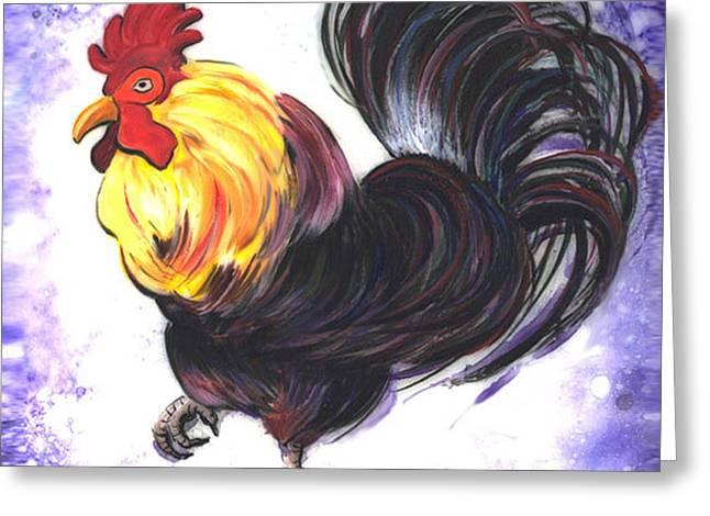 Barn Yard Mixed Media Greeting Cards - Mr Cock Rooster Greeting Card by GG Burns