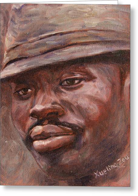 African-american Greeting Cards - Mr Cool Hat Greeting Card by Xueling Zou