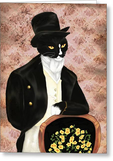 Hat Art Cat In Hat Art Greeting Cards - Mr. Darcy Cat in Pink Greeting Card by Tara Fly
