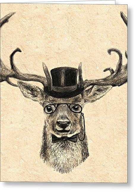 Black Top Drawings Greeting Cards - Mr Deer Greeting Card by Anna Shell