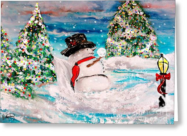 Snowball Mixed Media Greeting Cards - Mr. Flurry Greeting Card by Lori  Lovetere