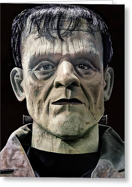 Classic Monster Greeting Cards - Mr. Frankenstein Mugshot Greeting Card by Daniel Hagerman
