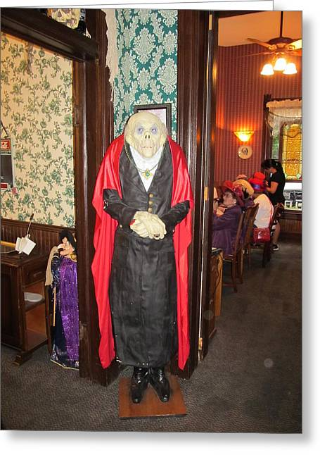 Haunted House Greeting Card Greeting Cards - The Catfish Plantation Restaurant Mr. Ghoul Greeting Card by Donna Wilson