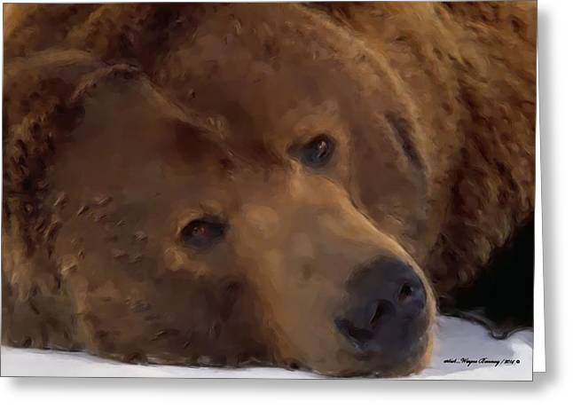 American Brown Bear Greeting Cards - Mr Grizzly Bear Greeting Card by Wayne Bonney