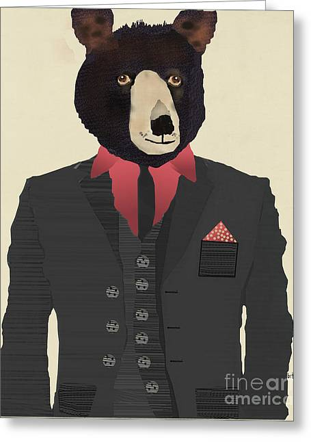 Contemporary Western Fine Art Greeting Cards - Mr Grizzly Greeting Card by Bri Buckley