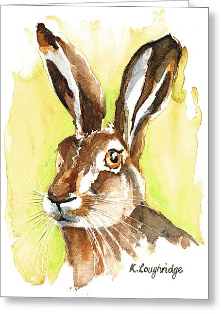 Hare Greeting Cards - Mr Hare Greeting Card by Karen  Loughridge KLArt