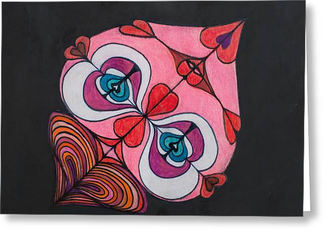 Face Tapestries - Textiles Greeting Cards - Mr. Heartfelt Greeting Card by Blanch Paulin