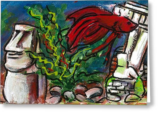 Betta Greeting Cards - Mr. Jiggy Greeting Card by TMGand