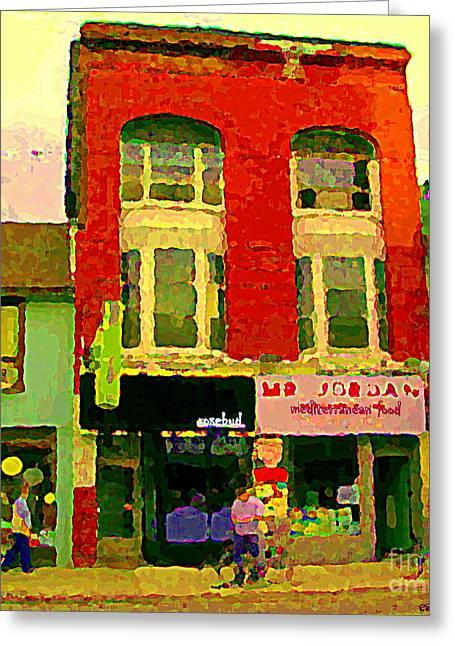 Jordan Paintings Greeting Cards - Mr Jordan Mediterranean Food Cafe Cabbagetown Restaurants Toronto Street Scene Paintings C Spandau Greeting Card by Carole Spandau