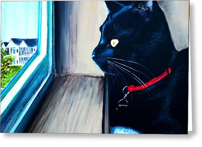 Black Reliefs Greeting Cards - Mr Kitty Greeting Card by Patricia L Davidson