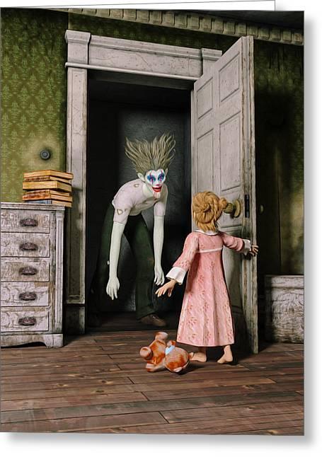 Killer Clown Greeting Cards - Mr Kreepy The Clown Greeting Card by Liam Liberty
