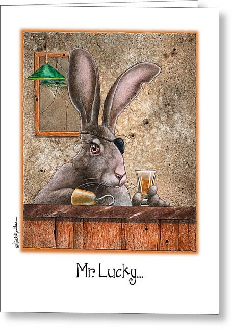 Jack Rabbit Greeting Cards - Mr. Lucky... Greeting Card by Will Bullas