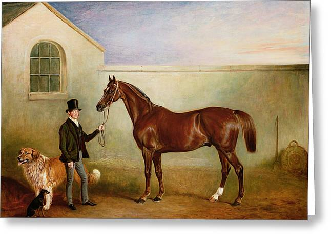 Mr Meakin Holding Sir Robert Peels Chestnut Hunter With His Dogs Hector And Jem Greeting Card by John E Ferneley