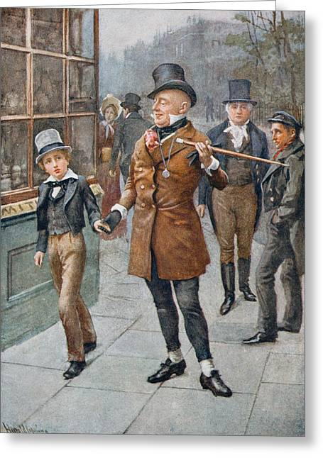 Conducting Greeting Cards - Mr Micawber Conducts David Home, Illustration From Character Sketches From Dickens Compiled By B.w Greeting Card by Harold Copping