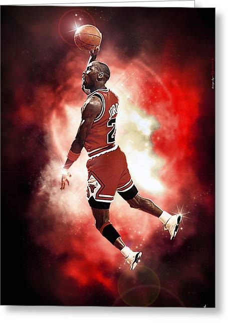 Chicago Bulls Greeting Cards - Mr. Michael Jeffrey Jordan aka Air Jordan MJ Greeting Card by Nicholas  Grunas