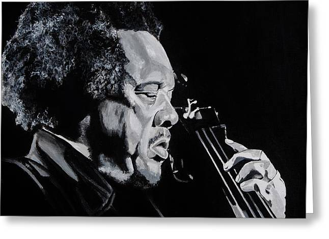 Free Form Paintings Greeting Cards - Mr Mingus Greeting Card by Brian Broadway