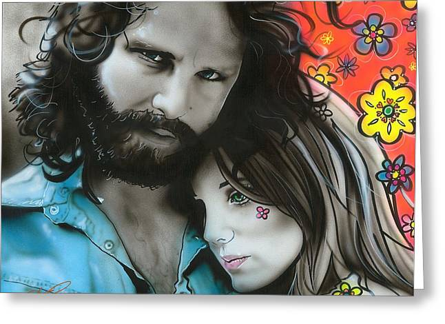 Hippy Greeting Cards - Mr Mojo Risin and Pam Greeting Card by Christian Chapman Art