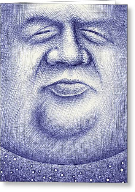 Drawings Greeting Cards - Mr. Moon Greeting Card by Cristophers Dream Artistry