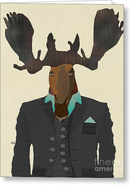 Contemporary Western Fine Art Greeting Cards - Mr Moose  Greeting Card by Bri Buckley