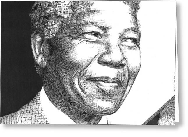 Role Models Drawings Greeting Cards - Mr Nelson Mandela Greeting Card by Timothy Glasby