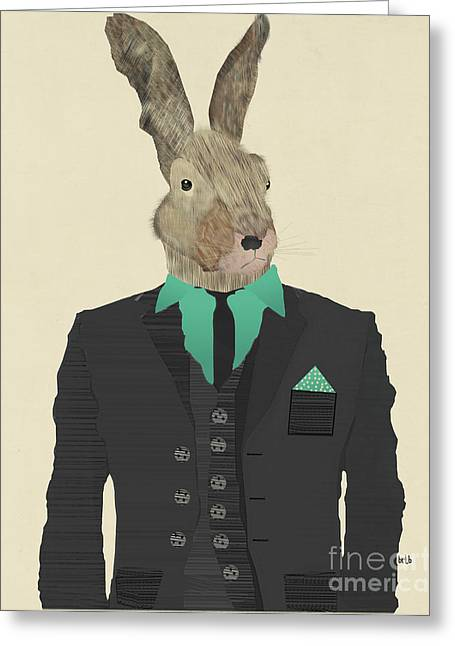 Hare Greeting Cards - Mr O Hare Greeting Card by Bri Buckley