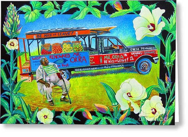Mango Paintings Greeting Cards - Mr Okra Greeting Card by Pamela Iris Harden