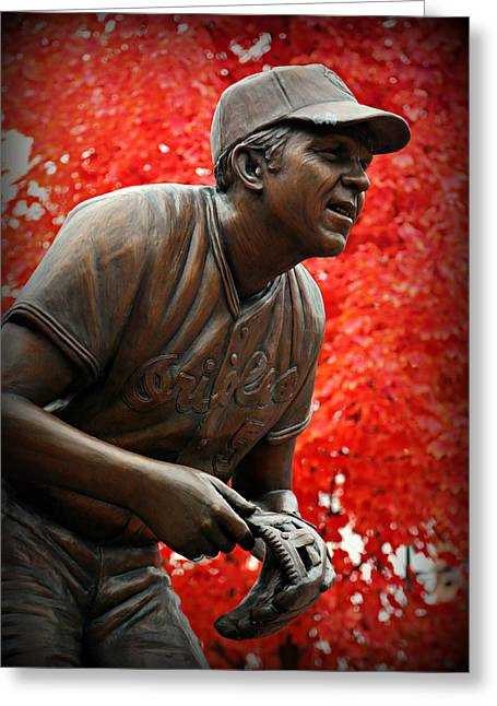 Mr. Oriole - Brooks Robinson Greeting Card by Stephen Stookey