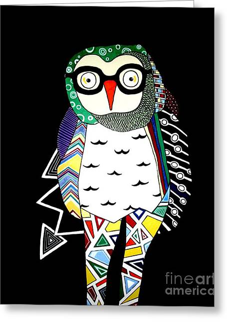 Chevron Owl Greeting Cards - Mr. Owl Greeting Card by Amy Sorrell