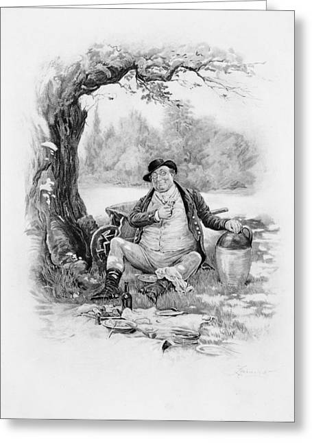Samuel Drawings Greeting Cards - Mr Pickwick, From Charles Dickens A Greeting Card by Frederick Barnard